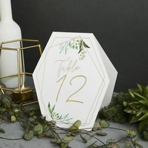 Gold Geometric Table Numbers 1-12 | Wedding Party Botanical Decorations