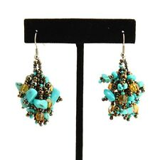 EA101 Turquoise Amber Glass and Stone Chip Earrings Drop Bead Artisan Fair Trade