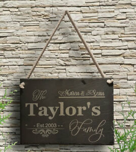 Personalised Engraved Slate Door Plaque Sign Aniversary Wedding Gift Family