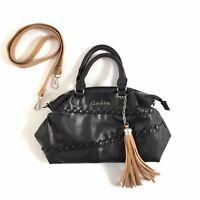 Carlos Falchi Black Satchel Handbag with Shoulder Strap Purse
