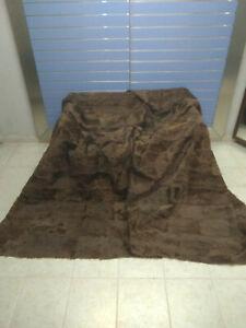 Luxury Brown Astrakhan Skin Fur Throw Real Lamb Fur Blanket Bedspread King Size