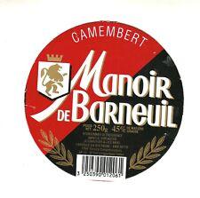 Etiquette de Fromage sur carton Camembert Manoir de Barneuil