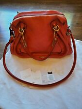 100% Auth Chloe Medium Paraty Scarlet Red Leather Shoulder Strap Hand Bag