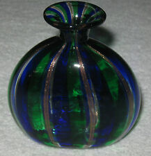 "Antique/Vintage Italian Glass Vase - Hand Blown Murano - Gold/Blue/Green - 4"" Ht"
