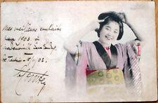 1902 Postcard: Japanese Geisha Girl Fixing Hair, Japan- Postmark Shanghai, China