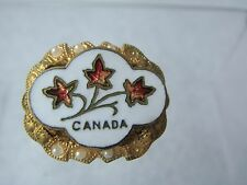 SALE! VINTAGE 1930'S CANADA ENAMEL FLOWER MINIATURE SOUVENIR PIN BROOCH