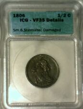 1806  1/2 CENT  SM 6--STEMLESS  ICG VF-35 DETAILS   NICE LOOKING COIN!!!
