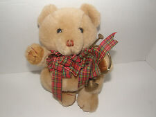 "10"" Christmas Teddy Bear Holding A Trompet And Wearing A Festive Christmas Bow"