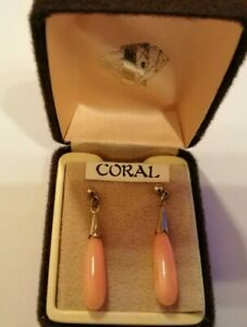 Polished coral drop earrings - boxed