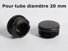 4 Bouchons embouts pour tube rond plastique PVC NOIR diamètre 20 mm
