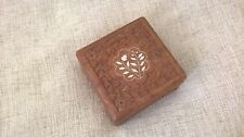 vintage Indian hand carved wooden square box inlay-ed