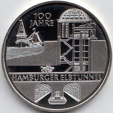 10 Euro Gedenkmünze 100 J. Hamburger Elbtunnel 2011 Polierte Platte Silber 625/-