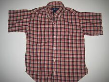 RALPH LAUREN boys youth short sleeve shirt Size 6 red black plaid cotton CUTE!
