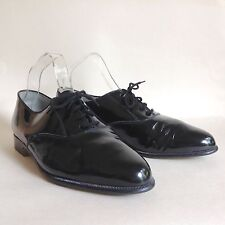 Marlone Black Hi Shine 1960s Vintage Men's Derby Dress Evening Shoe Size UK 7