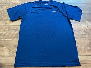 UNDER ARMOUR heatGEAR Blue Gym Athletic crossFIT Training Shirt mens Medium MD