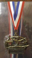 Gymnastics Trophy / Award / Gold Medal w/ Red, White Blue Neck Drape