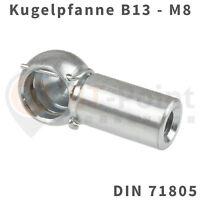 Kugelpfanne Stahl verzinkt B13 M8 DIN 71805 Sicherungsbügel Kugel Pfanne Kopf