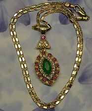 Dolly-Bijoux Collier Oeil Marquise Emeraude Diamant Blanc & Rose Cz signé SL