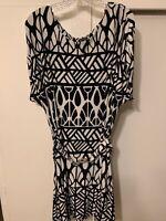 Apt 9 Short Sleeve Dress Black & White Women's Plus Size 2X Geometrical Belt