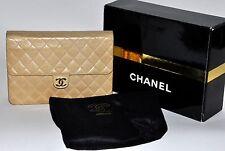 CHANEL Vntg Classic Flap Shoulder/Clutch Bag Beige Med Sz. Bijoux Chain