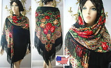"Russian Ukrainian Gypsy Shawl Floral w/Fringes 154cm/61"" Wool Black br142-3 Huge"