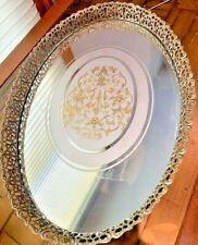 "New listing Vintage Rare Ornate Gold Metal Vanity Tray Display Mirror Tray 16"" X 11"" x 1.1/2"