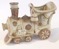 Vtg Christmas Glazed Pottery SANTA Train Candy Dish Planter studio art Decor