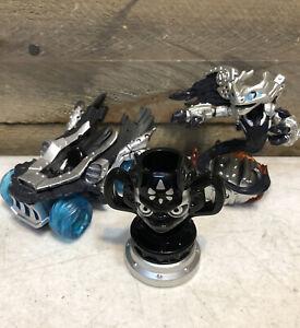 Skylanders Superchargers Lot Dark Spitfire Figure Hot Streak Vehicle Kaos Trophy