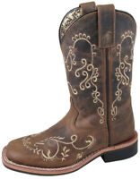 Smoky Children's Kid's  Marilyn Brown Waxed Distress Leather Western Cowboy Boot