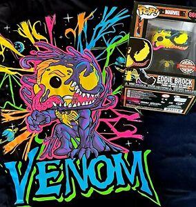 Funko Pop Marvel Venom 869 Eddie Brock  & Tee Size M Blacklight Vinyl Figure  .