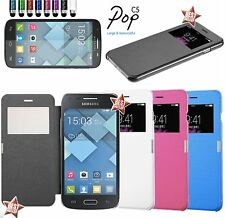 CUSTODIA MAGNETICA COVER FLIP CASE VIEW A LIBRO per ALCATEL POP C5 + PELLICOLA