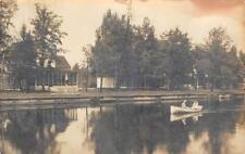 RPPC Cottage & Canoes, Indian River, Michigan 1920 Vintage Real Photo Postcard