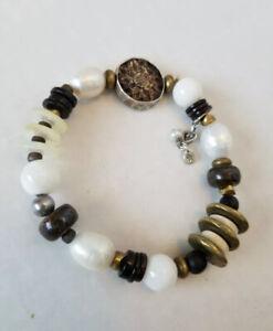 Silpada  Sterling Silver Pearl Bronzite Wood Brass Stretch Bracelet B1989