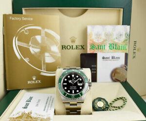 ROLEX 41mm Stainless Steel SUBMARINER Black Dial Green Bezel 126610LV SANT BLANC