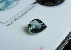 Superb Certified Unheated 1.32ct Pear Cut Yellowish Greenish Blue Sapphire.