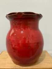 Owens Pottery Seagrove North Carolina Pottery Red Glazed Vase