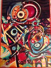 Abstract Expressionist Gallery Acrylic Painting by Alemayehou Gebre Medhin 1983