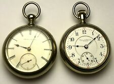 2 American Pocket Watches, 18 Size, Elgin 7J & Ilinois 17J, Private Labels