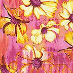 Patio Garden Pink Yellow, Blue Paradise by Maria Kalinowski Benartex 1/2 Yard