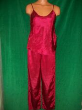 Inner Most Red roses on red  Pajamas sz S Top sidelace detail Bust 34 Vintage