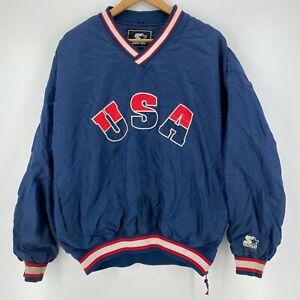 Starter Windbreaker Jacket Men's XL Blue USA United States Olympic Team Vtg 90s