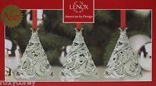Christmas Lenox Set of 3 Metal Cheer Joy Believe Tree Ornaments 3 in H Nib