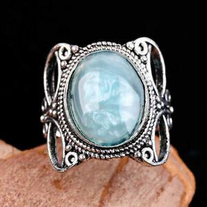 Gorgeous 925 Silver Ring for Women Wedding Gift Blue Opal Wedding Jewelry Sz 7
