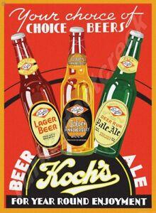 """KOCH'S BEER & ALE 9"""" x 12"""" METAL SIGN"""