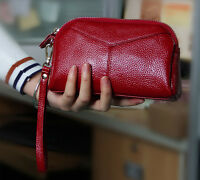 Real Leather Womens Wristlet Clutch Handbag Purse Lady's Red Wallet Pocket