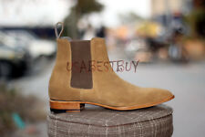 Hand Stitched Men's Classic Chelsea Camel Shade Suede Ankle Boots, Large boots