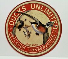 DUCKS UNLIMITED - WETLANDS CONSERVATION - ROUND COLLECTIBLE TIN SIGN MADE IN USA