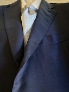 CESARE ATTOLINI Cashmere/ Wool/ Silk Handmade Solid Navy Blue Suit US44/EU54