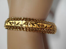 18K Min. Yellow Gold Bracelet Wide Etched Links with Double Chain 1 Full Ounce