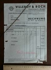 Villeroy Boch Steingut Fabrik Mettlach Saar 24.10.1936 Brief Werbung Papier  366
